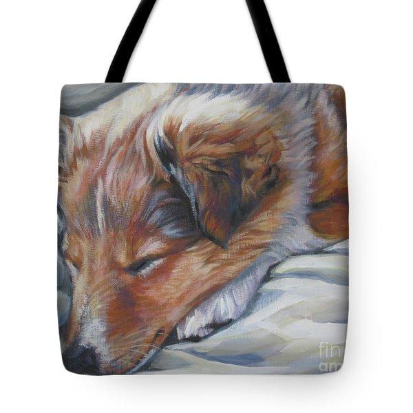 Shetland Sheepdog Sleeping Puppy Tote Bag by Lee Ann Shepard