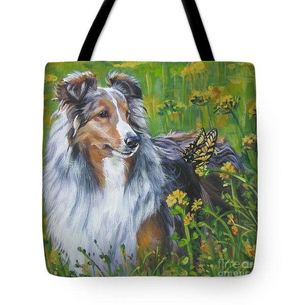 Shetland Sheepdog Wildflowers Tote Bag by L A Shepard