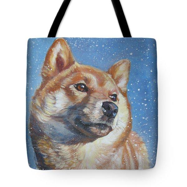 Shiba Inu In Snow Tote Bag by Lee Ann Shepard