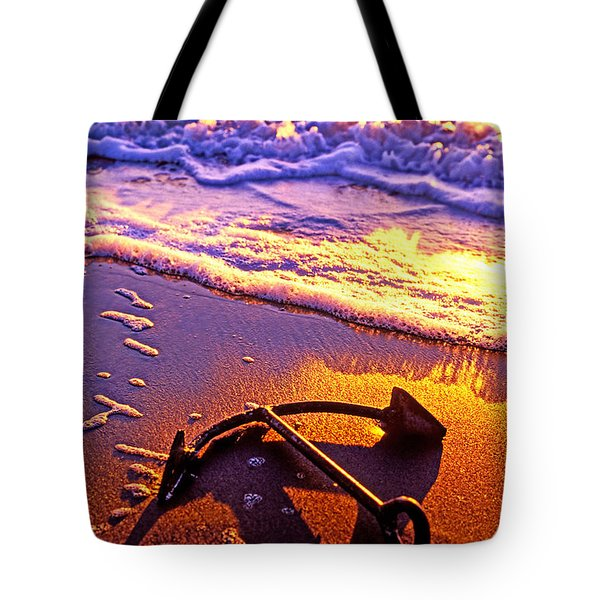 Ships Anchor On Beach Tote Bag by Garry Gay