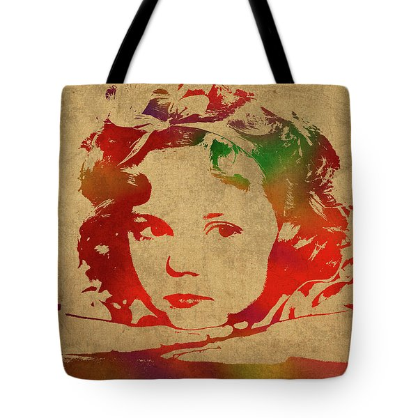 Shirley Temple Watercolor Portrait Tote Bag by Design Turnpike