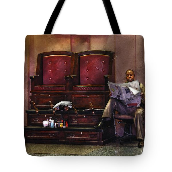 Shoes - Lee's Shoe Shine Stand Tote Bag by Mike Savad