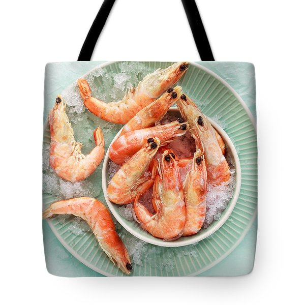 Shrimp On A Plate Tote Bag by Anfisa Kameneva