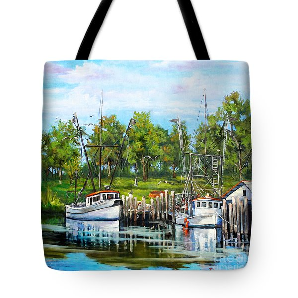 Shrimping Boats Tote Bag by Dianne Parks