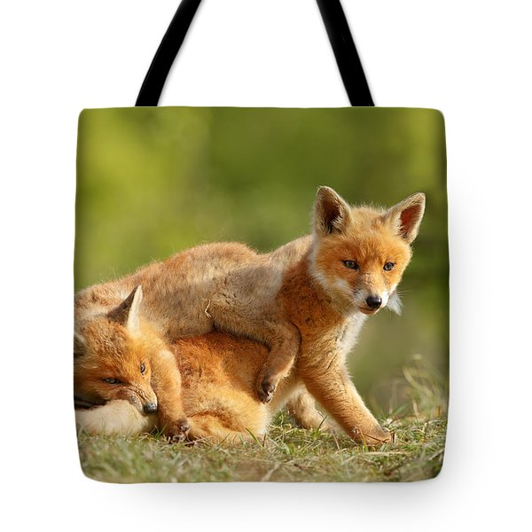 Sibbling Love - Playing Fox Cubs Tote Bag by Roeselien Raimond