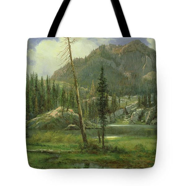 Sierra Nevada Mountains Tote Bag by Albert Bierstadt