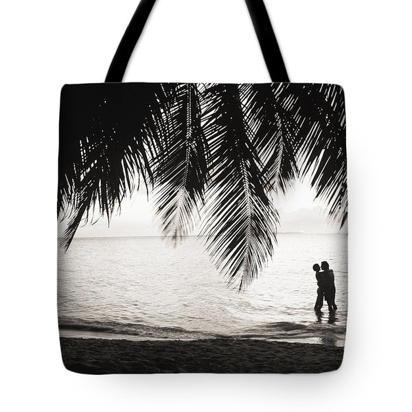 Silhouetted Couple Tote Bag by Larry Dale Gordon - Printscapes