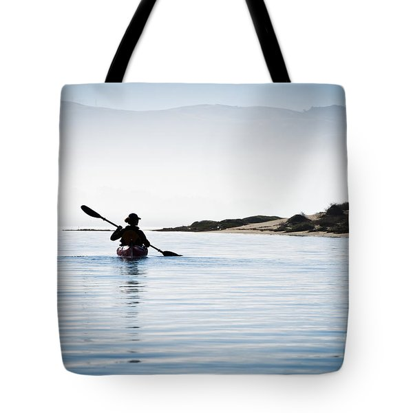 Silhouetted Kayaker in Morro Bay Tote Bag by Bill Brennan - Printscapes