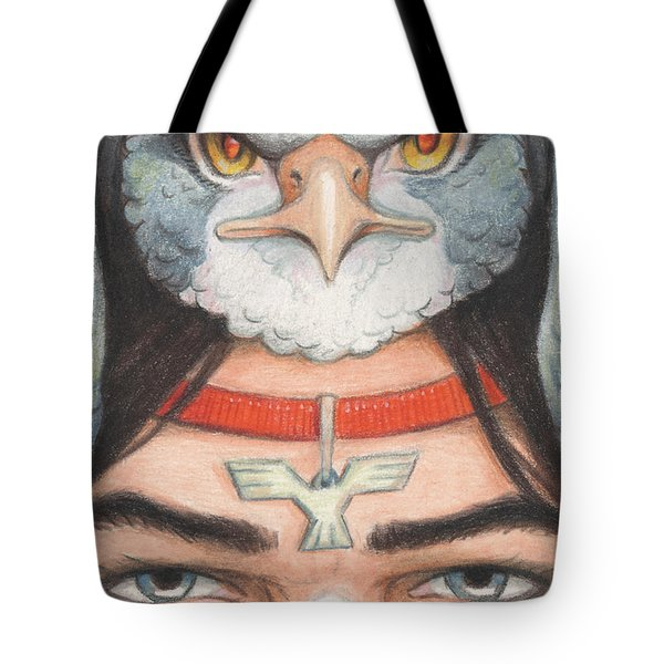Silver Hawk Warrior Tote Bag by Amy S Turner