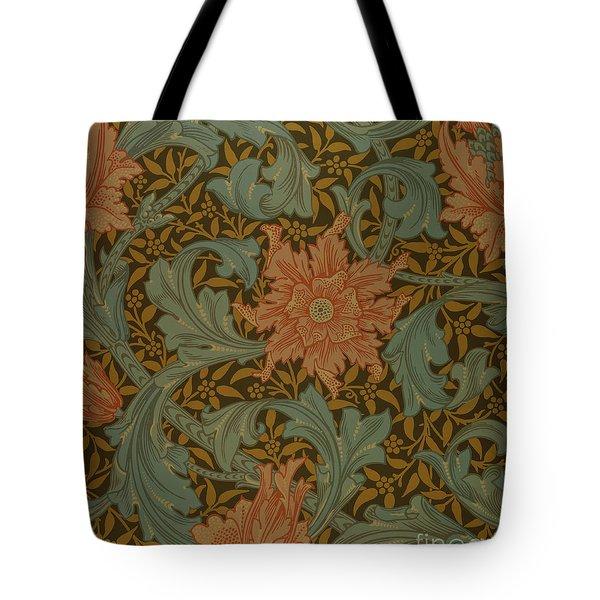 'Single Stem' wallpaper design Tote Bag by William Morris