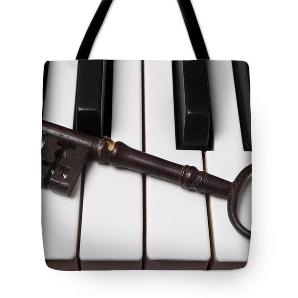Skeleton Key On Piano Keys Tote Bag by Garry Gay
