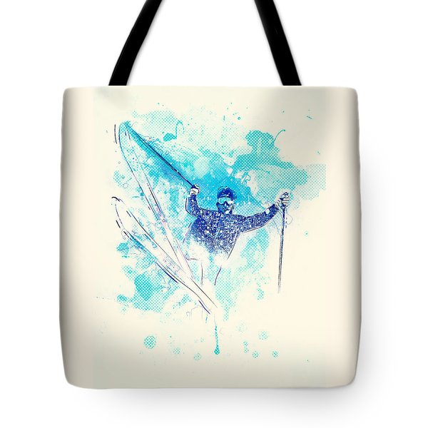 Skiing Down The Hill Tote Bag by Bekare Creative