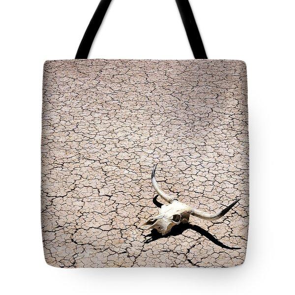 Skull In Desert Tote Bag by Kelley King