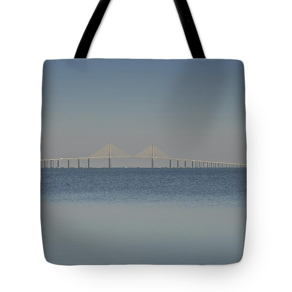Skyway Bridge In Blue Tote Bag by David Lee Thompson