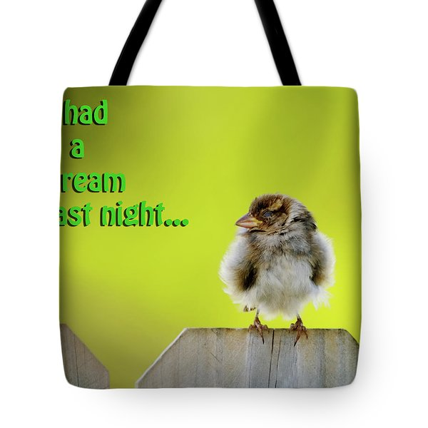 Sleeping Baby Sparrow Tote Bag by Betty LaRue