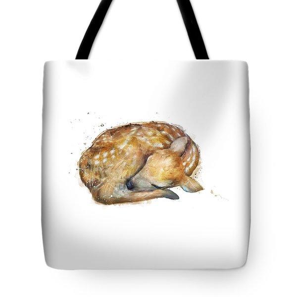 Sleeping Fawn Tote Bag by Amy Hamilton