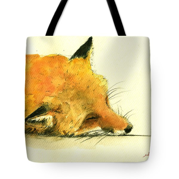 Sleeping Fox Tote Bag by Juan  Bosco