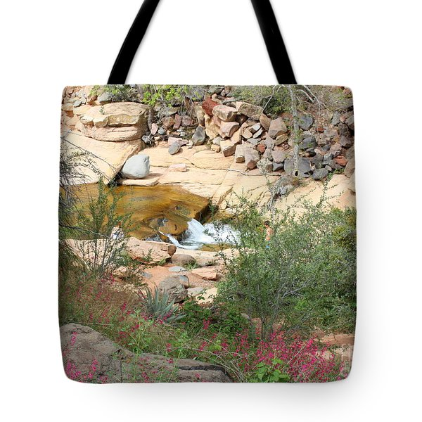 Slide Rock With Pink Wildflowers Tote Bag by Carol Groenen