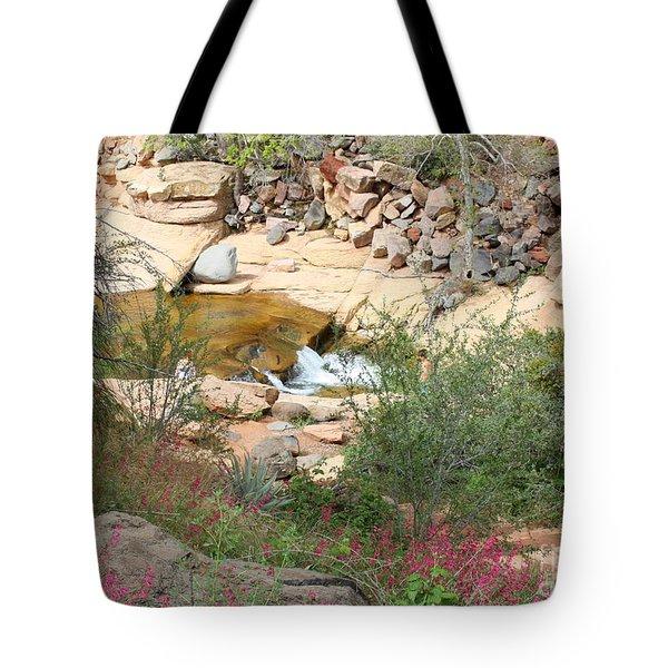 Slide Rock with Pink Wildflowers Tote Bag by Carol Groenen