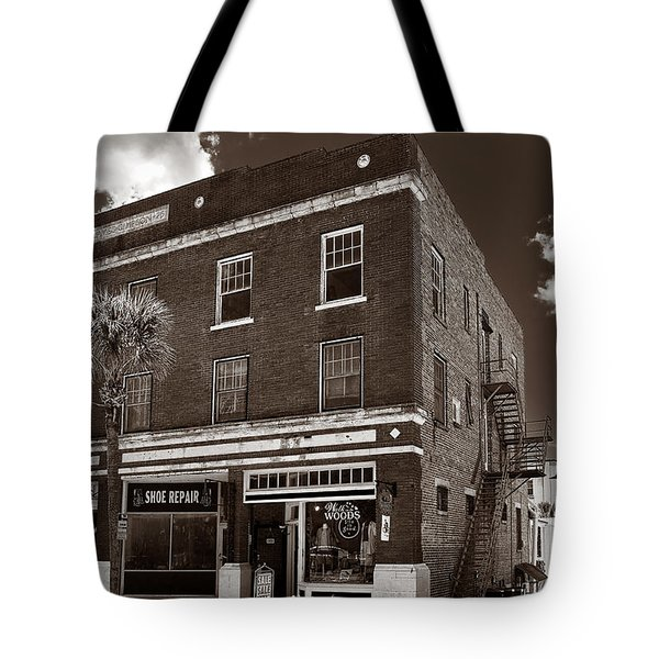 Small Town Shops - Sepia Tote Bag by Christopher Holmes