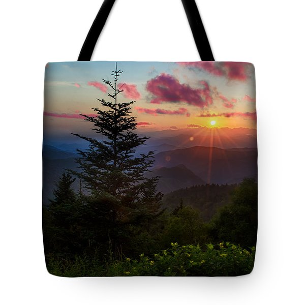 Smoky Mountain Sunset Tote Bag by Christopher Mobley