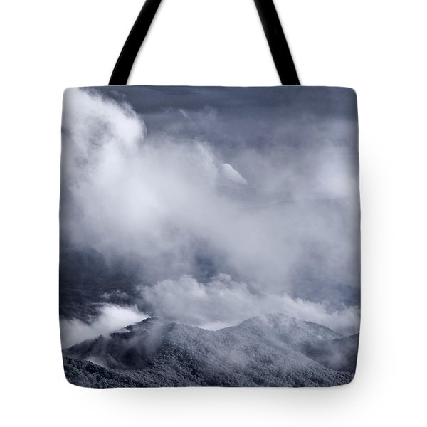 Smoky Mountain Vista In B and W Tote Bag by Steve Gadomski