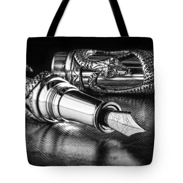 Snake Pen In Black And White Tote Bag by Tom Mc Nemar