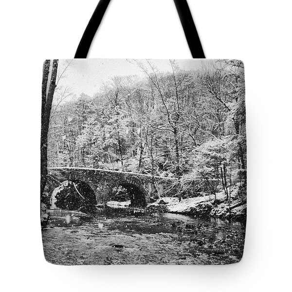 Snow Along The Wissahickon Creek Tote Bag by Bill Cannon