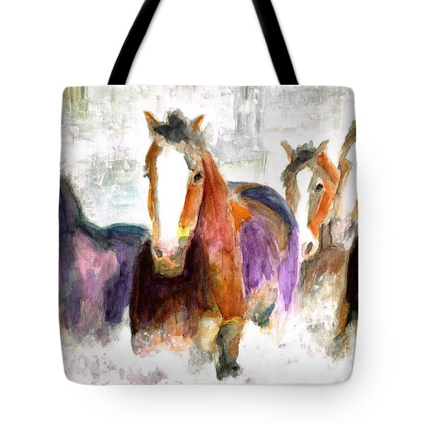 Snow Horses Tote Bag by Frances Marino