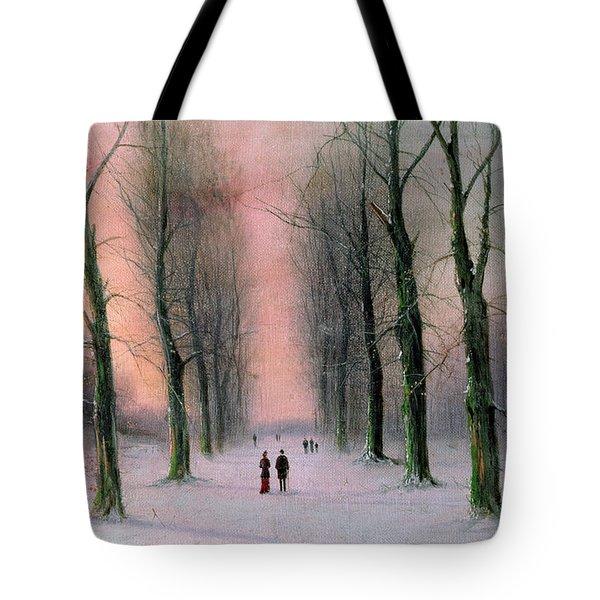 Snow Scene Wanstead Park   Tote Bag by Nils Hans Christiansen