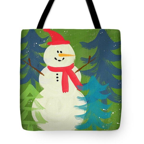 Snowman In Red Hat-art By Linda Woods Tote Bag by Linda Woods