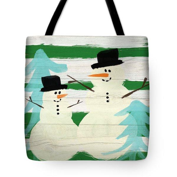 Snowmen With Blue Trees- Art By Linda Woods Tote Bag by Linda Woods