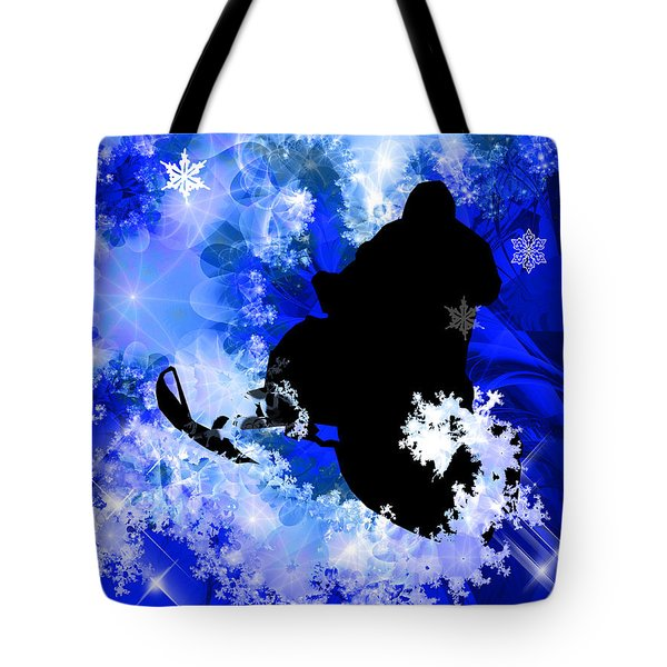 Snowmobiling In The Avalanche  Tote Bag by Elaine Plesser
