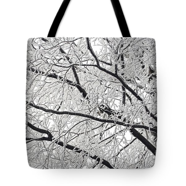 Snowy Branches Tote Bag by Michal Boubin