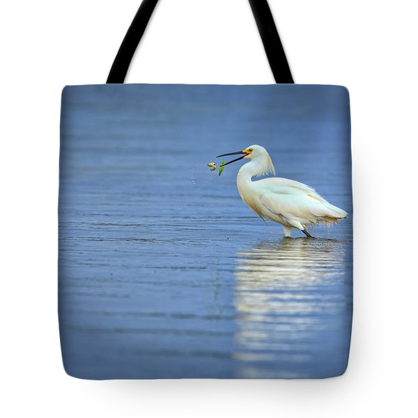 Snowy Egret At Dinner Tote Bag by Rick Berk