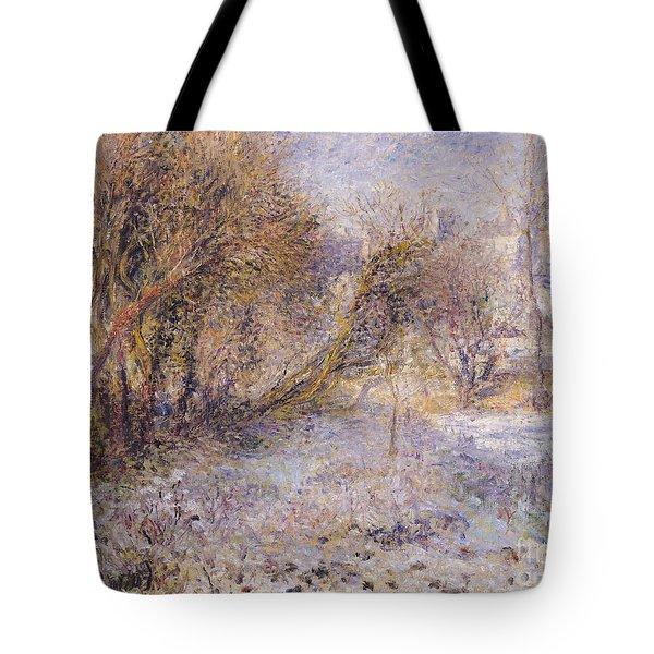 Snowy Landscape Tote Bag by Pierre Auguste Renoir