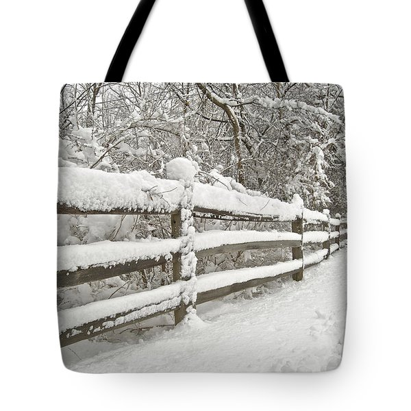 Snowy Morning Tote Bag by Michael Peychich