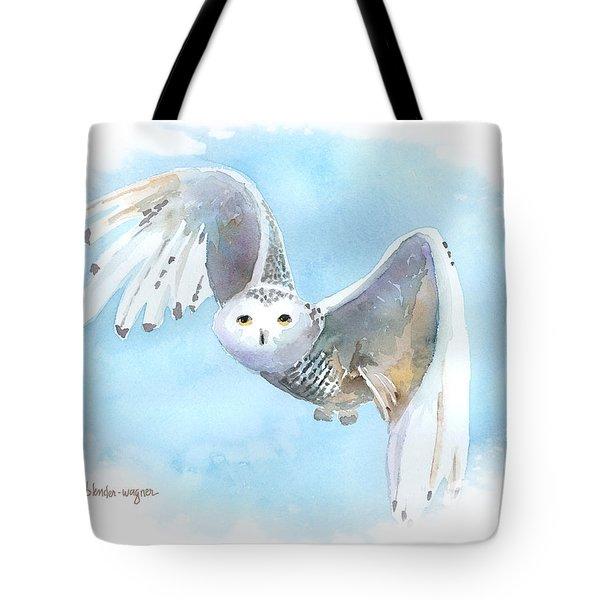 Snowy Owl In Flight Tote Bag by Arline Wagner