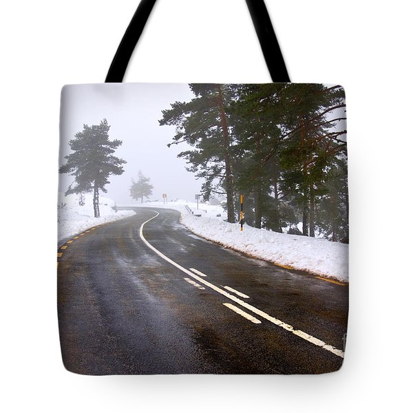 Snowy Road Tote Bag by Carlos Caetano