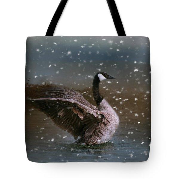 Snowy Swim Tote Bag by Jai Johnson