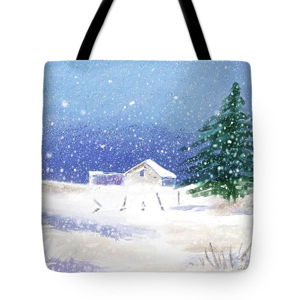Snowy Winter Scene Tote Bag by Arline Wagner