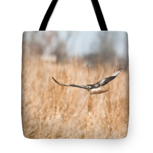 Soaring Hawk Over Field Tote Bag by Douglas Barnett