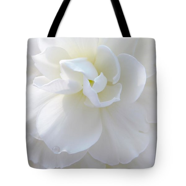 Soft Ivory Begonia Flower Tote Bag by Jennie Marie Schell