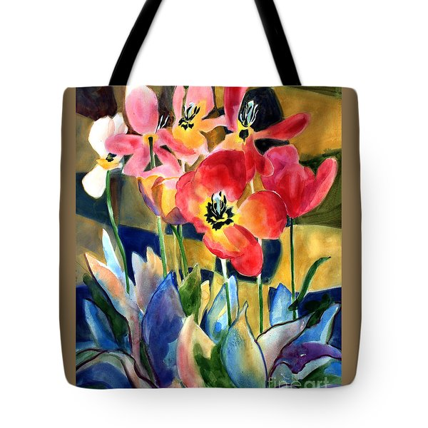 Soft Quilted Tulips Tote Bag by Kathy Braud