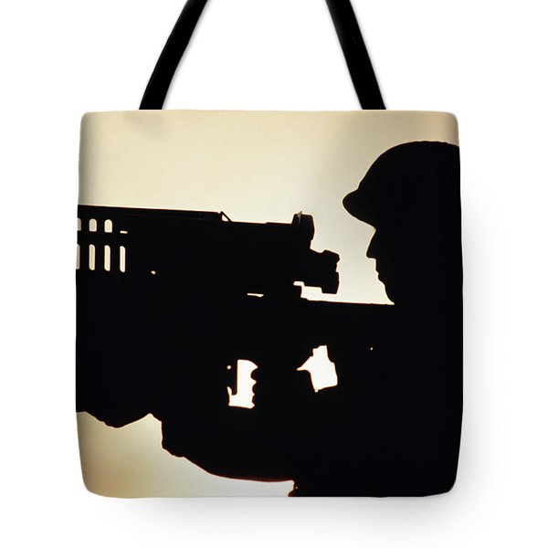 Soldier Holds A Stinger Anti-aircraft Tote Bag by Stocktrek Images