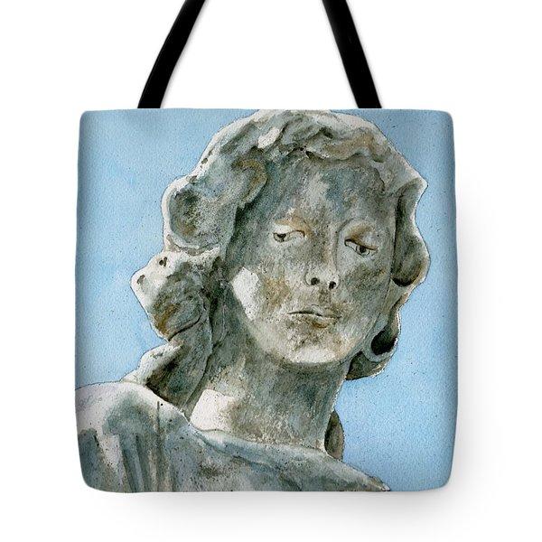 Solitude. A Cemetery Statue Tote Bag by Brenda Owen