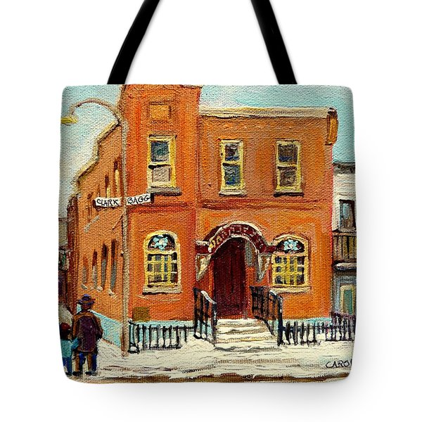 Solomons Temple Montreal Bagg Street Shul Tote Bag by Carole Spandau