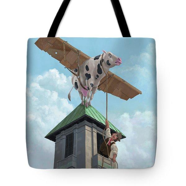 southampton cow flight Tote Bag by Martin Davey