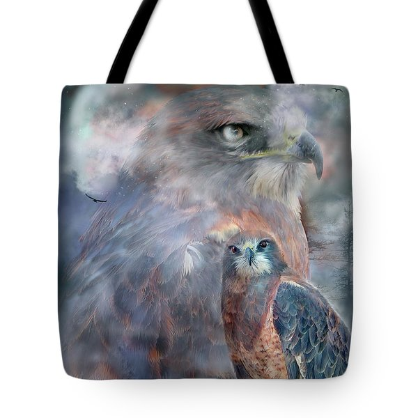 Spirit Of The Hawk Tote Bag by Carol Cavalaris