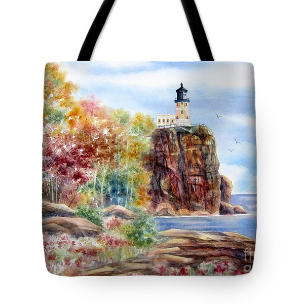 Split Rock Lighthouse Tote Bag by Deborah Ronglien
